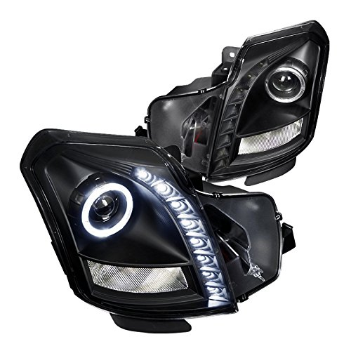 Spec-D Tuning LHP-CTS03JM-RS Cadillac Cts Halo Black Projector Smd Led Drl Headlights Lamps