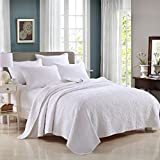 3-Piece Bedding Set Comforter Bedspread Quilted Coverlet Sets Queen White Cotton