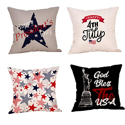 (4Pcs Set Independence Day Square Pillow Covers,18