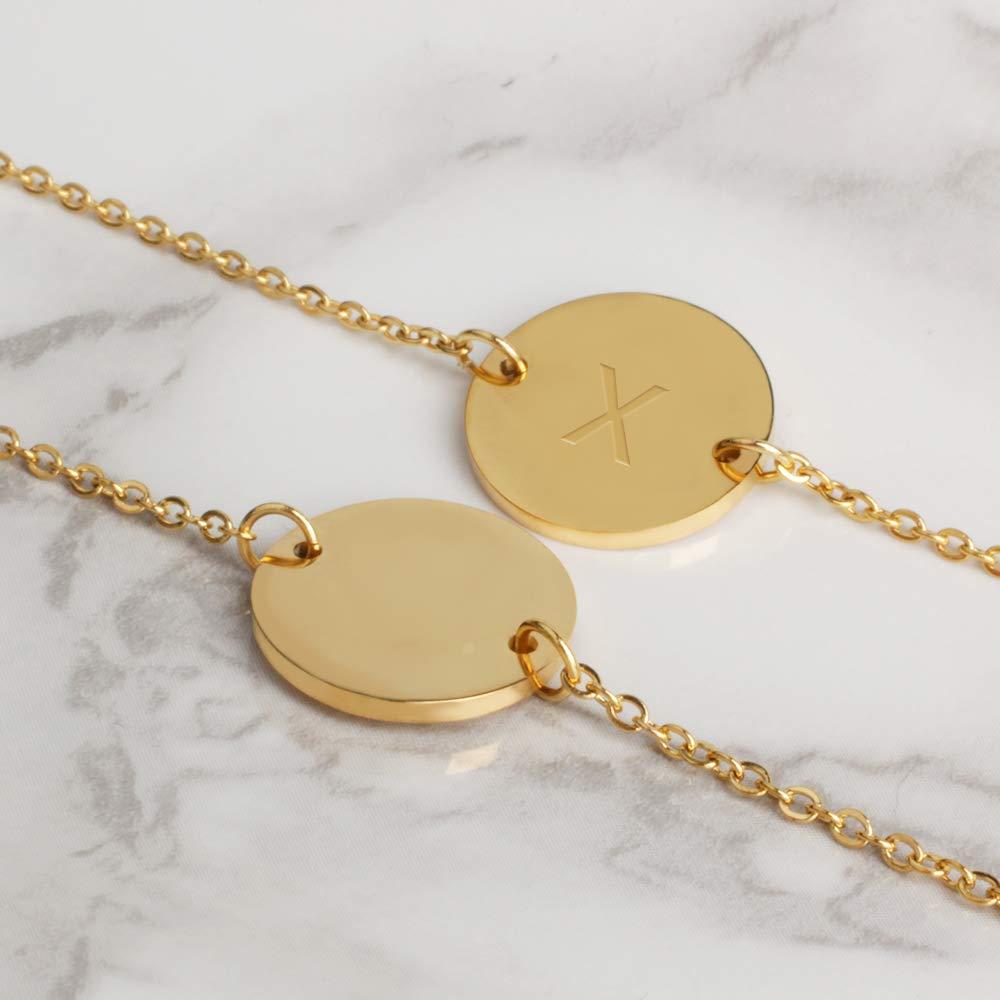 2015 /® Bracelet Dame avec Lettres en Or Pendentif Initial plaqu/é Or Rond 18k avec Gravure en Relief. GD GOOD.designs EST