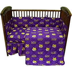 LSU Tigers 5 Piece Crib Set - Entire Set includes: (1) Reversible Comforter, (1) Bed Skirt , (2) Fitted Sheets and (1) Bumper Pad - Decorate Your Nursery and Save Big By Bundling!