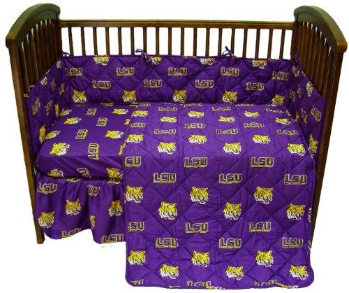 LSU Tigers 5 Piece Crib Set and Matching Window Valance/Drape Set (Drape Length 84