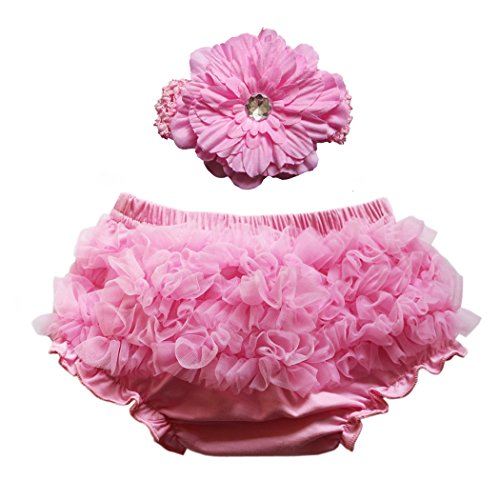 Wennikids Baby Girls Chiffon Bloomers Diaper Cover and Headband Set Small (Personalized Diaper Cover)