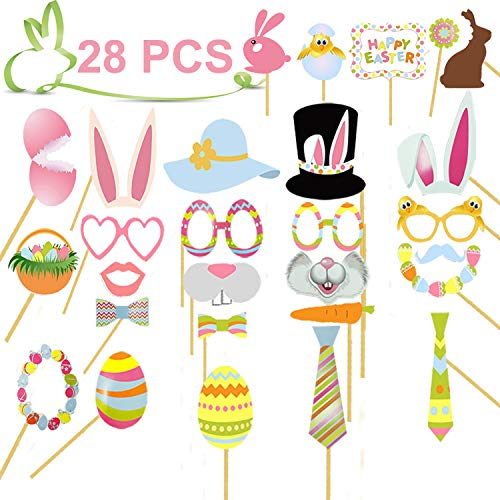 Easter Photo Booth Props, Easter Party Decorations 28 Pack DIY Photo Booth Props Kit for Easter Party Supplies with Colors Eggs Basket Bunny Rabbit Dress-up Accessories Easter Gifts for Party ()