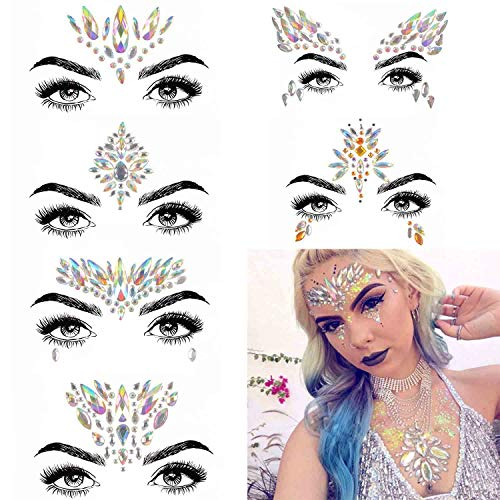 COKOHAPPY 6 Sets Festival Rhinestones Rave Mermaid Face Jewel Tattoo - Tears Gems Rainbow Crystal Rocks Bindi Body Temporary Stones Stickers (Collection -