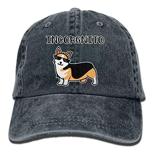 - Men's/Women's Adjustable Yarn-Dyed Denim Baseball Cap Incorgnito Corgi Hiphop Cap