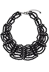 "Carolee ""Flower District Jet"" Flower District Jet Woven Collar Necklace"
