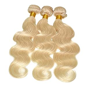 Feelontop Blonde Hair Extension Fashion Color 613# Blonde Malaysian Hair Body Wave Weave 10 Pcs Malaysian Body Wave…