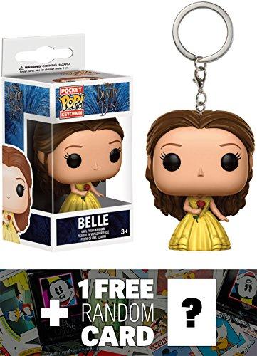 Belle: Pocket POP! x Beauty & The Beast Mini-Figural Keychain + 1 FREE Classic Disney Trading Card Bundle (123969)