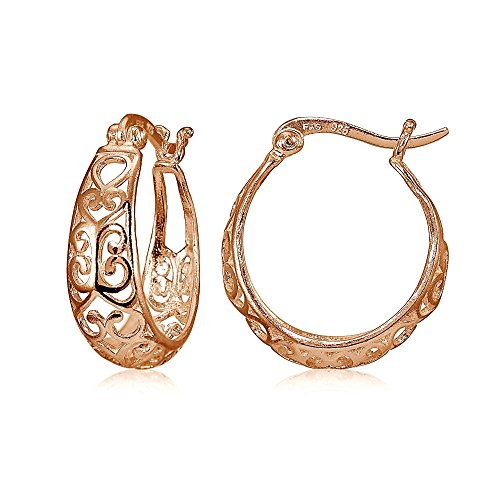 Rose Gold Flashed Sterling Silver High Polished Heart Filigree Oval Hoop ()