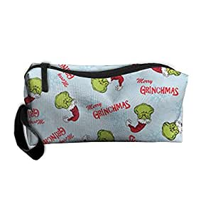 Portable Christmas Merry Grinchmas Pattern Cosmetic Bag Makeup Bag Toiletry Bag Travel Cosmetic Bag