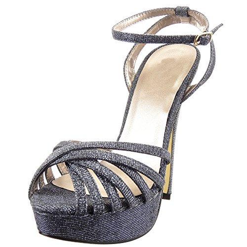 Sopily - damen Mode Schuhe Pumpe Stiletto Offen Plateauschuhe Multi-Zaum - Grau gqwhazcE