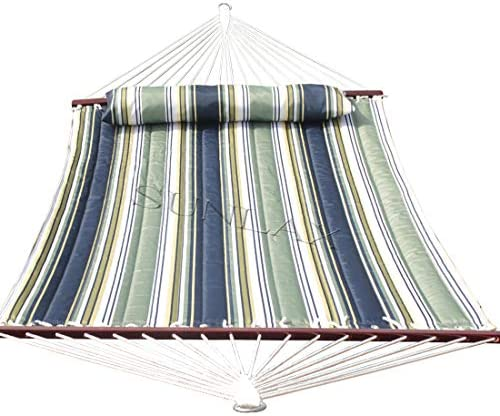 SUNLAX Quilted Fabric Hammock Two Person with Detachable Pillow and Spreader Bars, 450 Pound Capacity Heavy Duty,Blue and Aqua Stripes