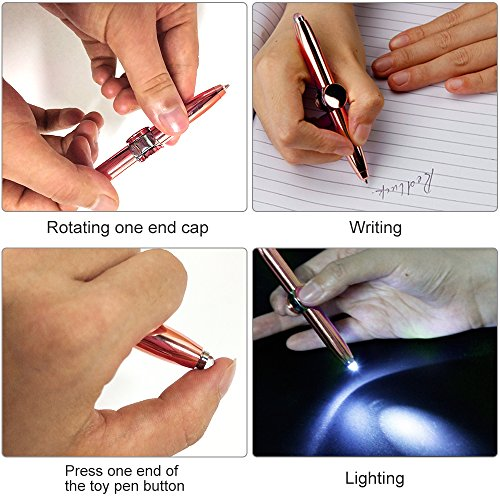CHUANGRONG Metal Fingertip Gyro Pen Anti-anxie Rotator Toy Pen can be used for Writing, Lighting and Decompression Rotating Adult Children's Finger Toys to Relieve Stress Boring ADHD Autism. by CHUANGRONG (Image #5)