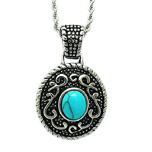 Jade Angel 925 Silver Plated Titanium Steel Rope Chain with Vintage Old Turquoise Pendant (20 Inches) ()
