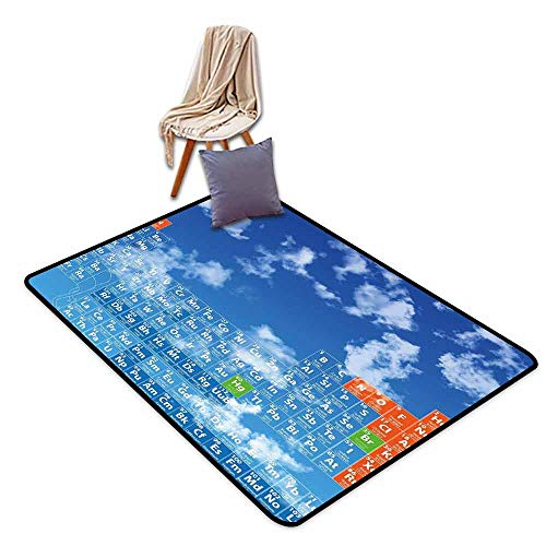 (Girl Bedroom Rug Science Clear Open Sky with Clouds and Chemistry Table for Kids Smart Student Print Easy to Clean W71 xL82.5 Blue and White)