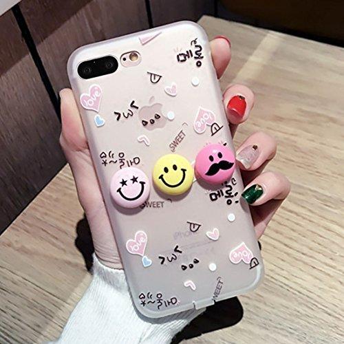 MXNET IPhone 7 Plus Fall, 3D Lächeln Gesicht Ausdruck Liebe Muster Silikon Schutzhülle Fall mit USB & Kopfhörer Port Anti-Staub Stecker CASE FÜR IPHONE 7 PLUS ( SKU : Ip7p2665a )