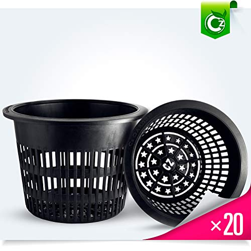 - 6 inch Net Pots Heavy Duty Round Cups Wide Rim Design - Orchids • Aquaponics • Aquaculture • Hydroponics Slotted Mesh (Cz All Star 20 Black Pots)
