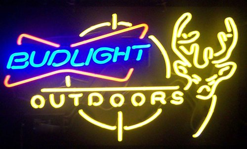 "Desung New 24""x20"" Bud-Light Outdoors Deer Neon Sign Man Cave Bar Pub Beer Neon Lamp Real Glass Neon Light DX20"
