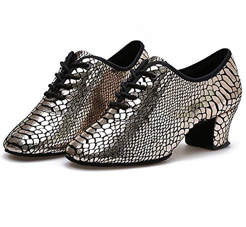 WYMNAME Mujeres Zapatos De Baile Latino,Tacones Mediados Fondo Blando Zapatos De Baile De Salón Zapatos De Salón De Baile De Mujer Dorado