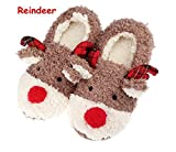 Slippers for Women, Cute Reindeer Animal Fluffy House Winter Ladies Slippers Shoes, Comfortable Non Skid Home Slippers