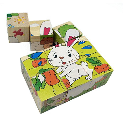 Rolimate Educational Preschool Farm Animal Wooden Cube Block Jigsaw Puzzles – Dog Sheep Duck Chicken Rabbit Dairy Cow, Birthday gift toy for Age 1 2 3 4 5 6 7 Years Old and Up Toddlers Kids Baby Boy