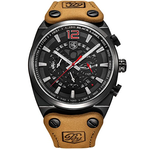 BENYAR Cool Men's Quartz Chronograph Waterproof Watches Sport Military Leather Band Strap Wrist Watch (Black Red)