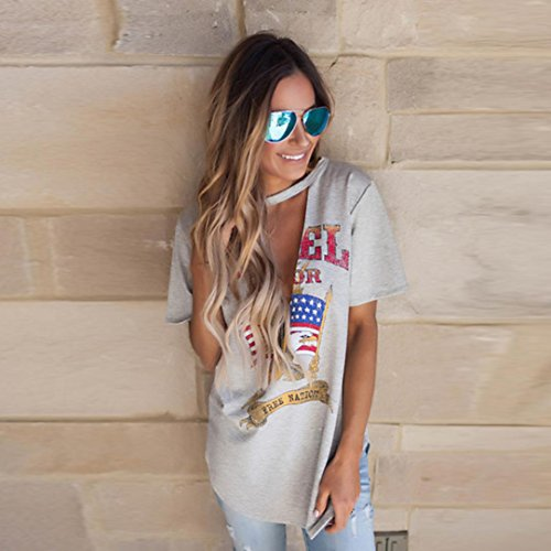 OverDose Mujeres Vintage Rock style T - shirt Tops Casual Camiseta blusa de fiesta fiesta Gris