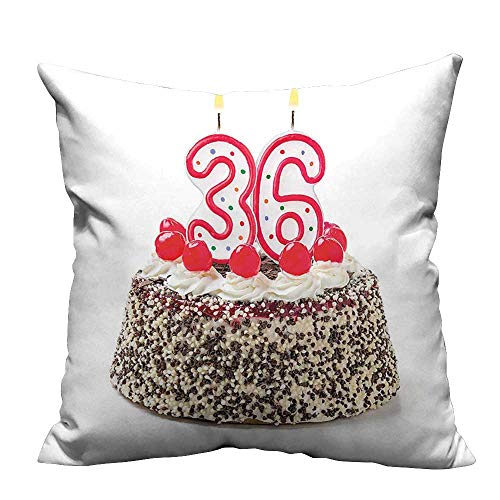 YouXianHome Household Pillowcase Happy Birthday Party Theme Cake with Candles and Sprinkles Print Perfect for Travel(Double-Sided Printing) 16x16 -
