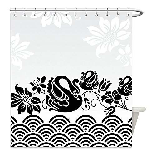 Liguo88 Custom Waterproof Bathroom Shower Curtain Polyester Animal Decor Collection Black Swans Couple Swimming in Abstract Waves with Swirling Flowers Floral Art Pattern Black White Decorative (Diy Black Swan Costume Ideas)