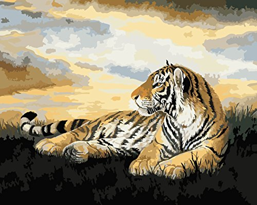 Wooden Framed Paint by Number or Not - New Release Diy Oil Painting by Numbers - Crouching Tiger 16*20 inches - PBN Kit for Adults Girls Kids White Christmas Decor Decorations Gifts