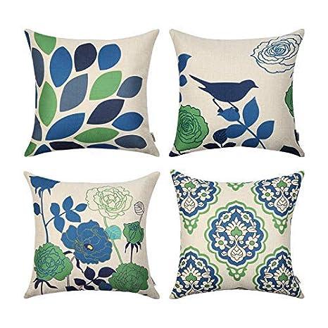 Topfinel - Fundas de cojín Decorativas de Lino y algodón para Exterior de 45 x 45 cm para sofá, Cama, Juego de 4, Serie
