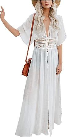 Imagen deAiJump Chiffon Vestido Largo Kaftan Pareo Bikini Cover Up Beachwear para Mujer