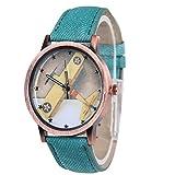 LinTimes Unisex Retro Denim Men Women Plane Analog Quartz Strap Wrist Watch Mint-Green