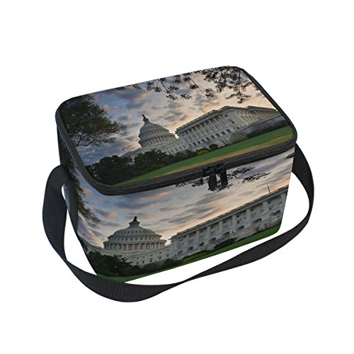 Saobao Reusable Insulated Lunch Box Tote Bag Capitol Hill Building Washington DC Handbag with Shoulder Strap for School work Office Travel Outdoor