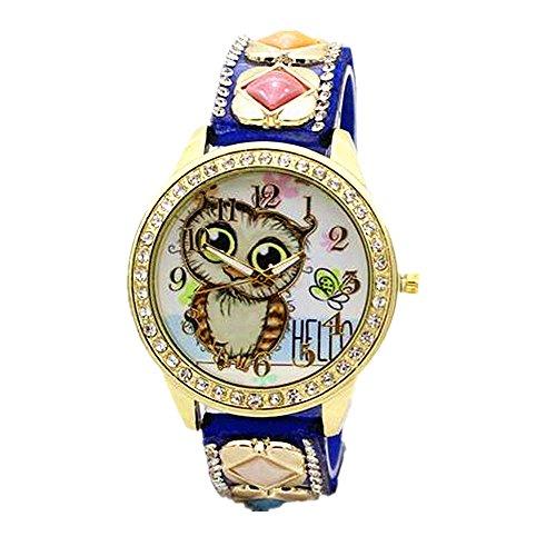 MINILUJIA Personalized Design Cute Owls Dial Wrist Watch for Women