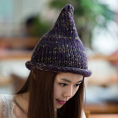 otoño Maozi Punto Invierno Hilos Lana Curling del Novedades señoras BLUE de el Mago para Gorra Sombrero Blue de rqBwvtr