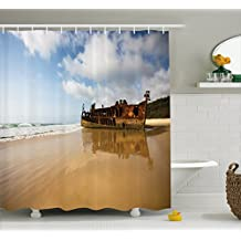 Ocean Decor Shower Curtain by Ambesonne, Antique Rusty Pirate Ship Wreck on the Coast in Caribbean Island Pacific Sea View, Fabric Bathroom Decor Set with Hooks, 70 Inches, Multi