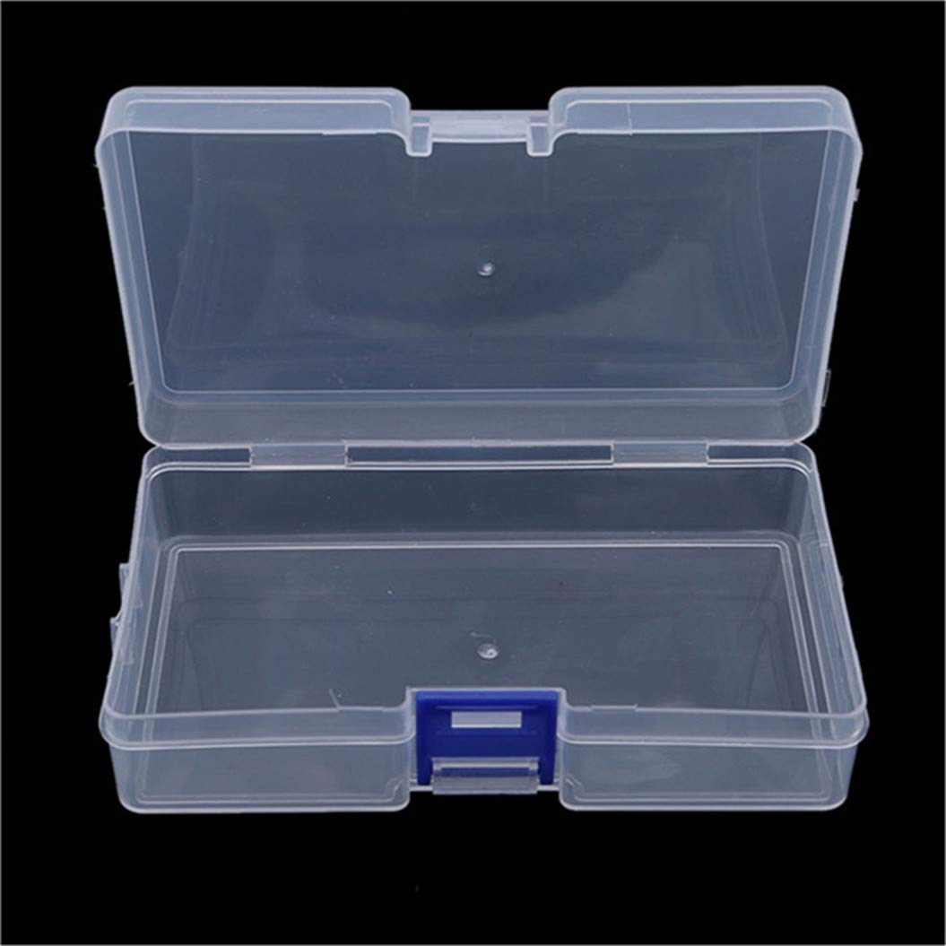 LZIYAN Rectangular Nail Storage Box Clear Transparent Nail Art Beads Organizer Display Box Container For Jewelry Rings,Blue buckle by LZIYAN (Image #5)