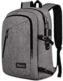 Laptop Backpack, Travel Water Resistant College School Bookbag for Women and Men, Slim Business Anti Theft Computer Bag with USB Charging Port Fits UNDER 17 In Laptop, Notebook by Mancro (Grey): more info