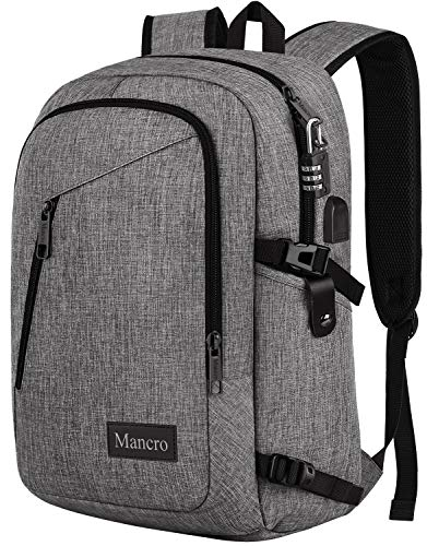Laptop Backpack, Travel Water Resistant College School Bookbag for Women and Men, Slim Business Anti Theft Computer Bag with USB Charging Port Fits UNDER 17 In Laptop, Notebook by Mancro (Grey)