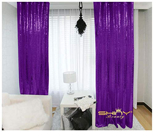 - Sequin Curtains 2 Panels 2FTx8FT Purple Glitter Backdrop Purple Sequin Photo Backdrop Wedding Pics Backdrop~Y1121