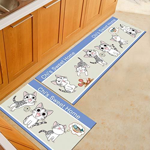 Sabull Cartoon Printed Doormat Kitchen Carpet Non-Slip Oil Proof Area Rug Floor Mats Living Room Bedroom Carpet ()