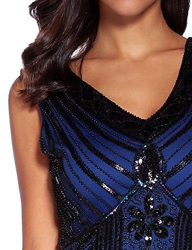 Anni Flapper Donne Vestito Dress Frange 1920s Azul Gatsby Dress Vestito 20 Abito Impreziosito Flapper Senza Gatsby Dress Paillette Vestito Real Maniche 1920s da Sera Comeon Donna E88Iqr