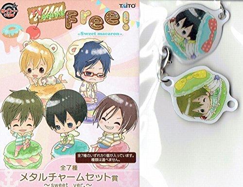RARE!! Taito Kuji Prize Anime Free! Sweet macaron Metal Charm set secret A