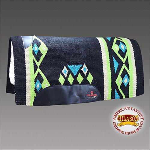 HILASON Made in USA Western Wool Felt Saddle Blanket Pad Black Green