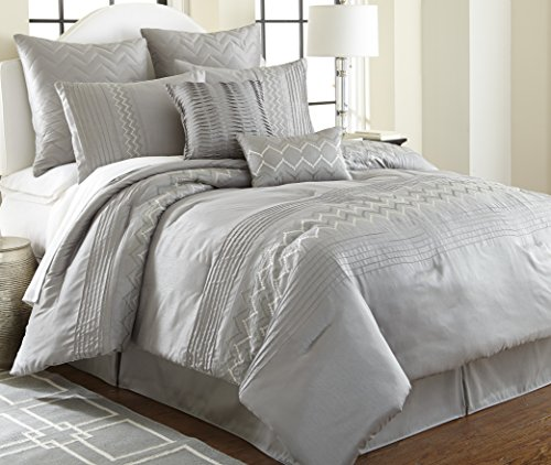 Pacific Coast Textiles 8-Piece Reagan Embroidered Comforter Set, King, Grey well-wreapped