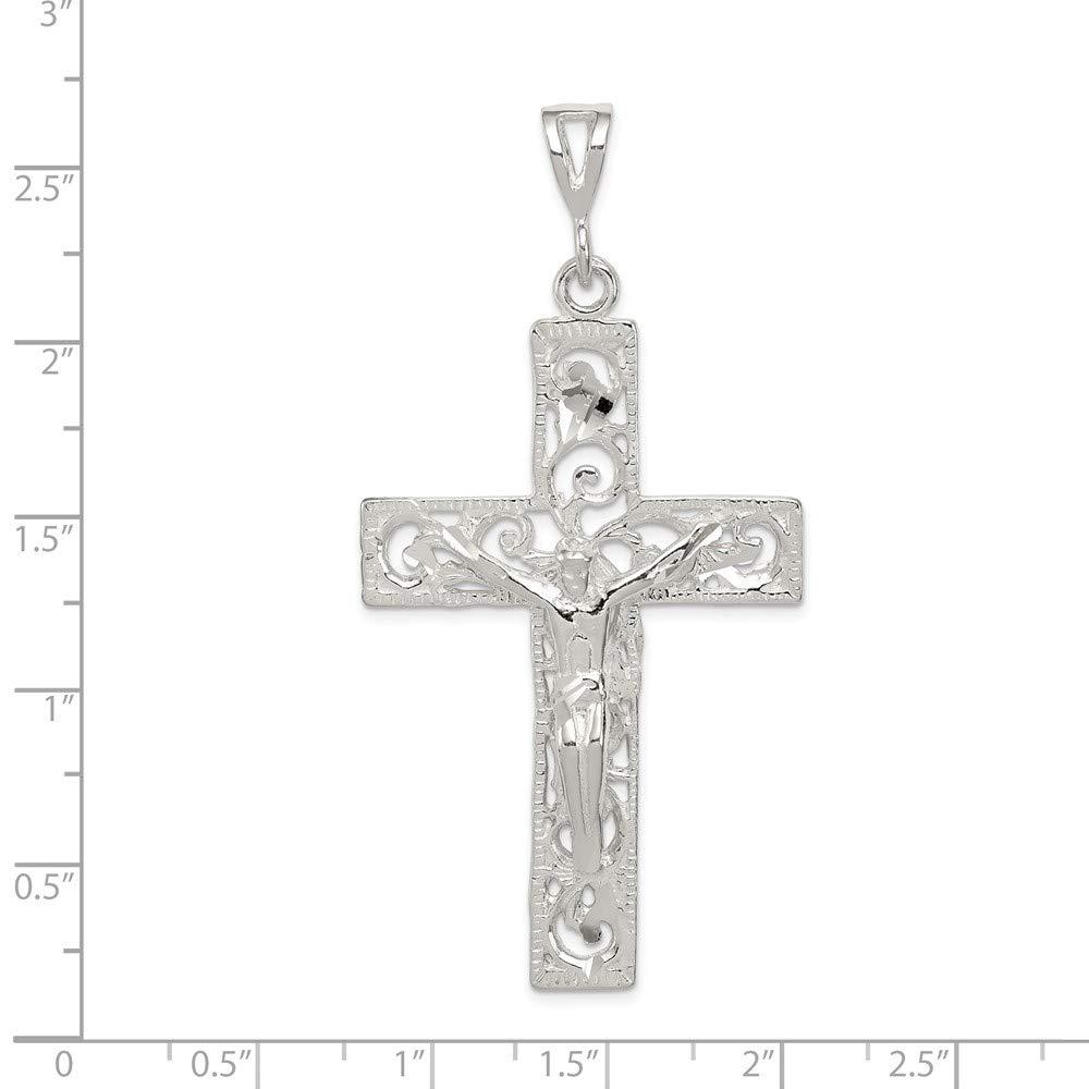Jewel Tie Sterling Silver Crucifix Pendant 2.56 in x 1.3 in