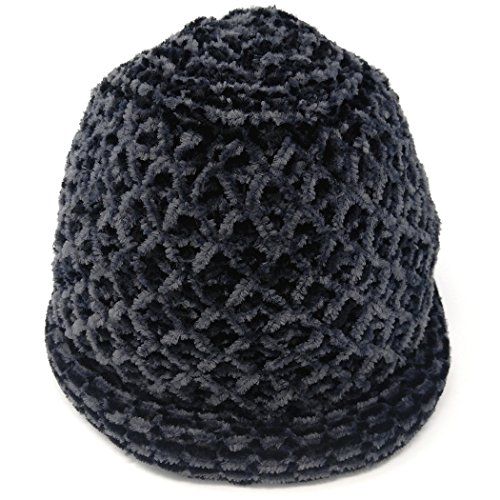 MWS Roll Brim Chenille Knit Hat, Double Layer Roller Cloche Cap, Bowler Style (Black/Grey) (Double Layer Beanie)