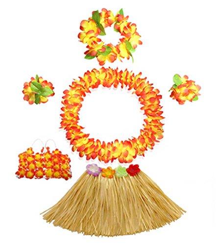 [Luau Hula Costume Set for Child Stage Performance Dress] (Hawaiian Hula Outfits)